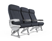 Airplane Seats isolated on white background. 3D render