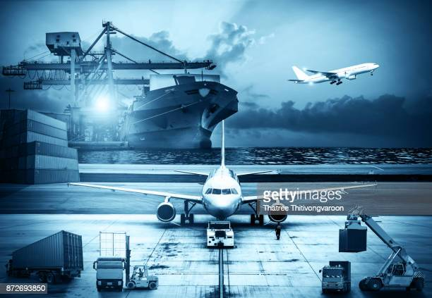 Airplane shipping delivery transfer with Logistics and transportation of Container Cargo ship and Cargo plane, Business Logistics  import export and transport concept