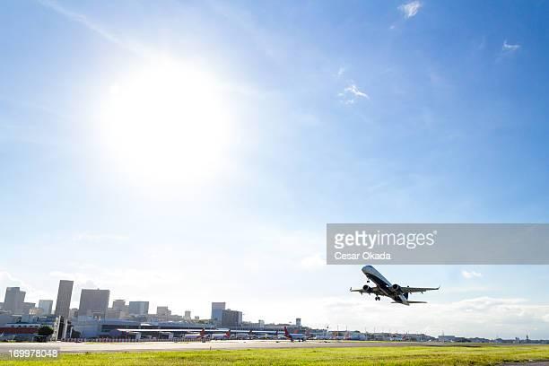 Airplane takeoff at Rio de Janeiro
