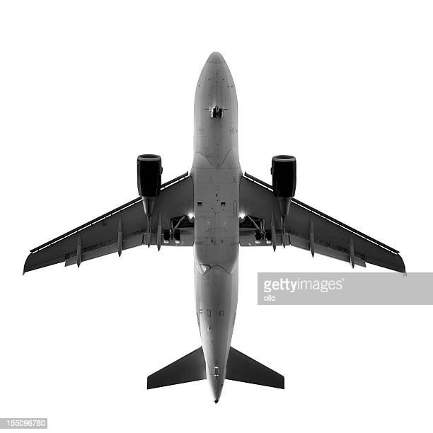 Airplane, view from directly below - isolated on white