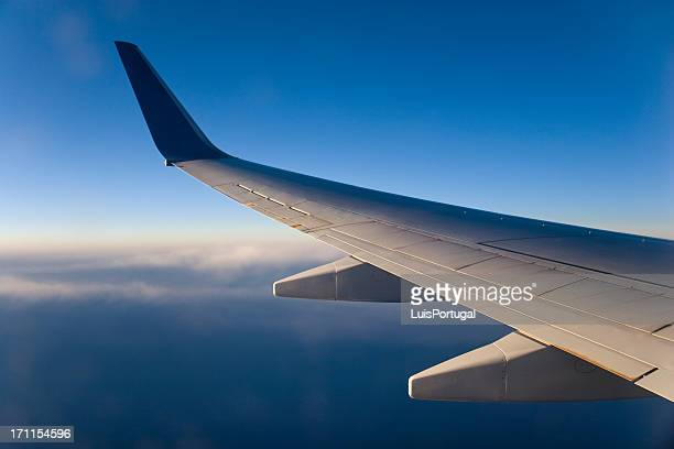 Airplane wing above the clouds during flight