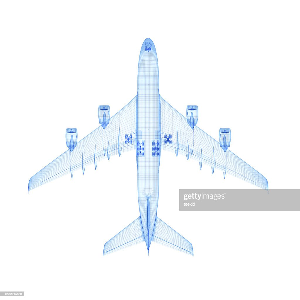 Airplane Wireframe : Stock Photo