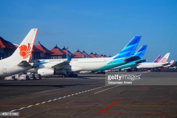 Airplanes and Tails at Ngurah Rai International Airport, Bali, Indonesia