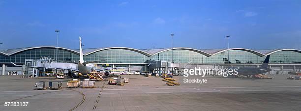 Airplanes at an airport in Hong Kong