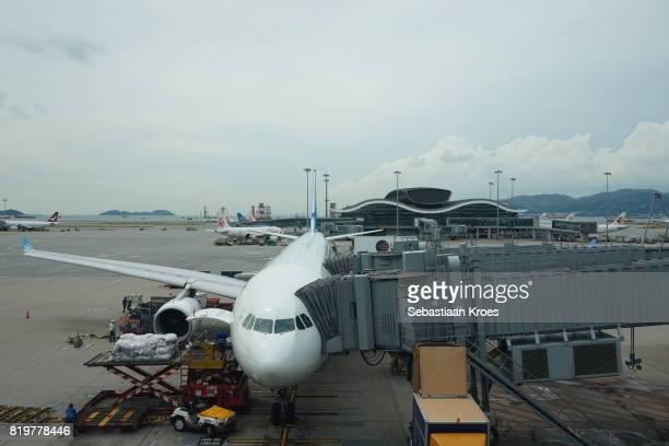 Airplanes at the Tarmac of Hong Kong International Airport, Hong Kong, China