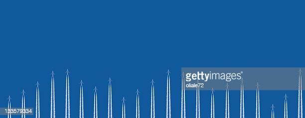 Avions volant dans le ciel bleu, Graphique Image