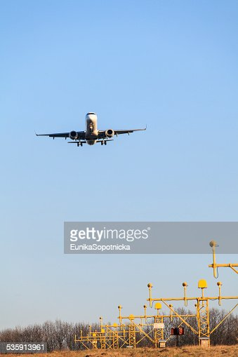 Avión's landing : Foto de stock