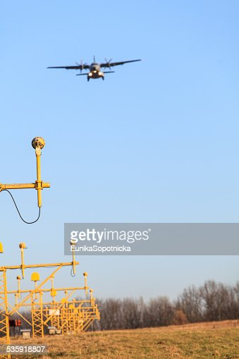 Airplane's landing : Stock Photo