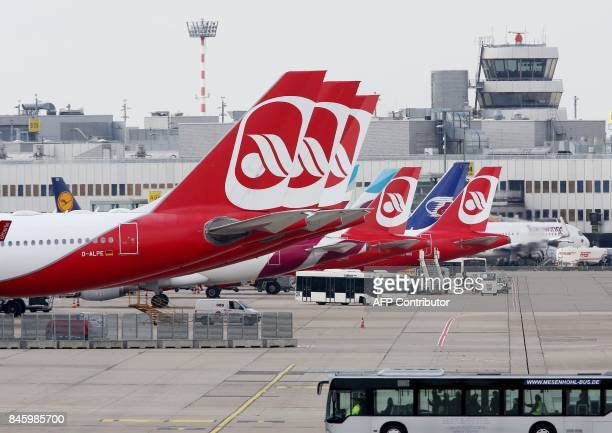 Airplanes of German airline Air Berlin are parked at the airport in Duesseldorf western Germany on September 12 after the troubled airline had to...