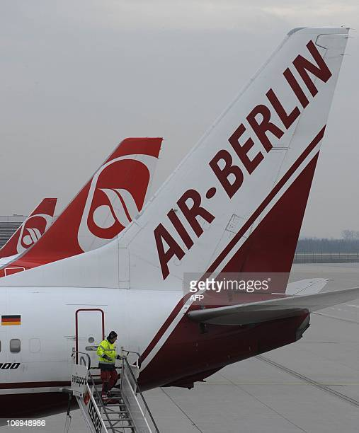 Airplanes of the German airliner Air Berlin are parked at the FranzJosefStrauss airport in Munich southern Germany on November 18 2010 A suspected...
