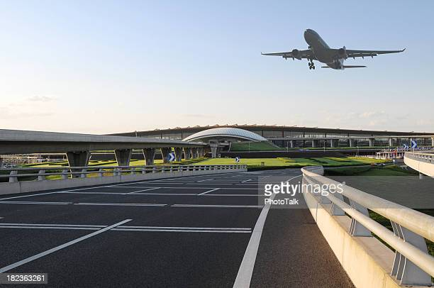 Airport and Airplane Taking Off  - XLarge