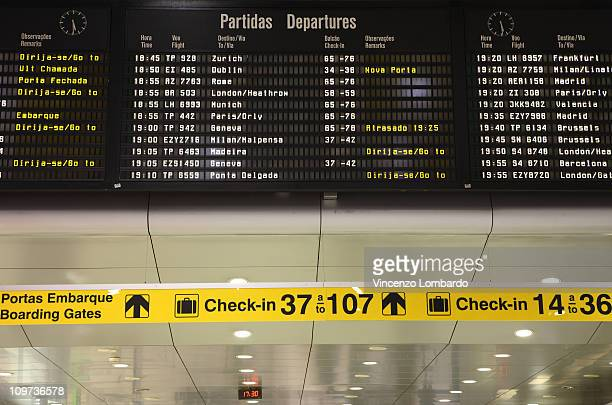 Airport arrival and departure board