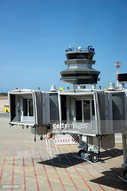 Airport control tower and passenger loading jet ways