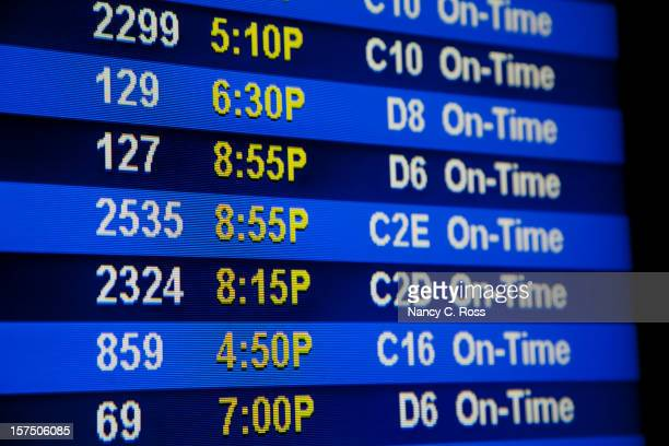 Airport Departure Board Showing Gate Numbers, Flight Times, Schedule
