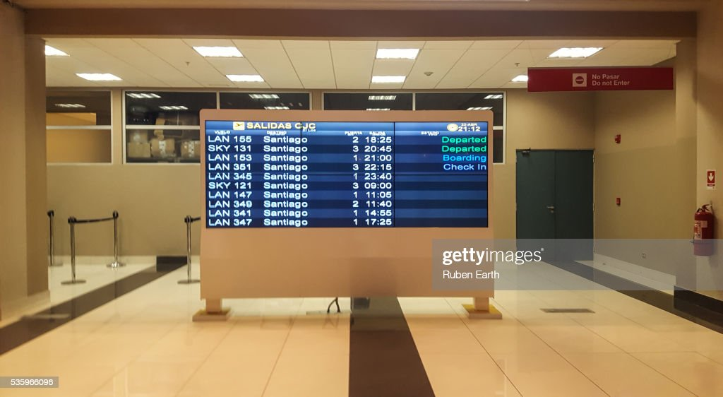 Airport flight information display system : Stock Photo