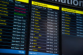 Screens showing flight details at an airport.