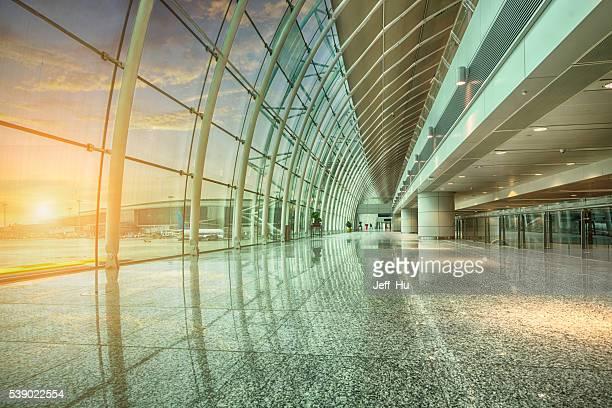 airport glass corridor