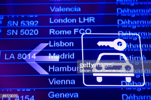 Airport information board : Stock Photo