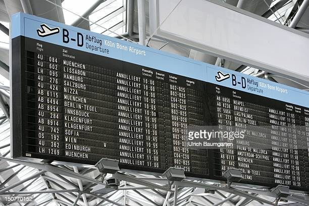 GERMANY airport KOELN BONN The departure board shows the cancelled flights at Cologne Bonn Airport due to the ash cloud from the volcano eruption at...