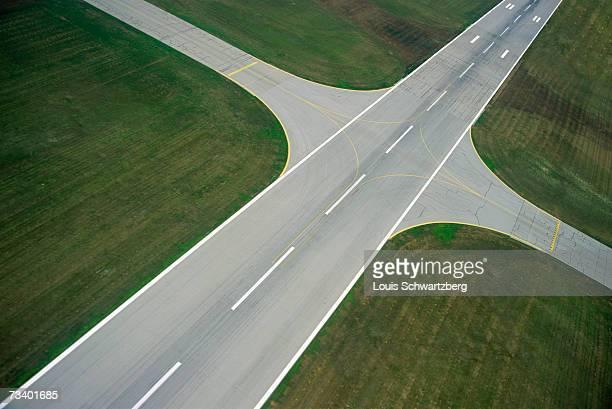 Airport, landing strip, aerial view