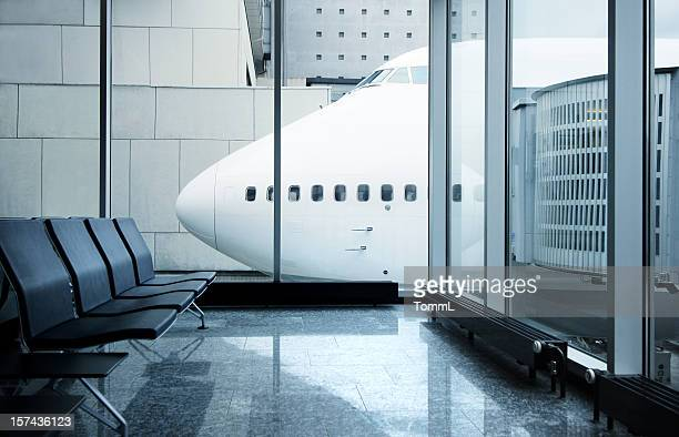 airport lounge with airplane