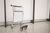 Airport Luggage Cart with empty copy space, shot in hong kong, asia