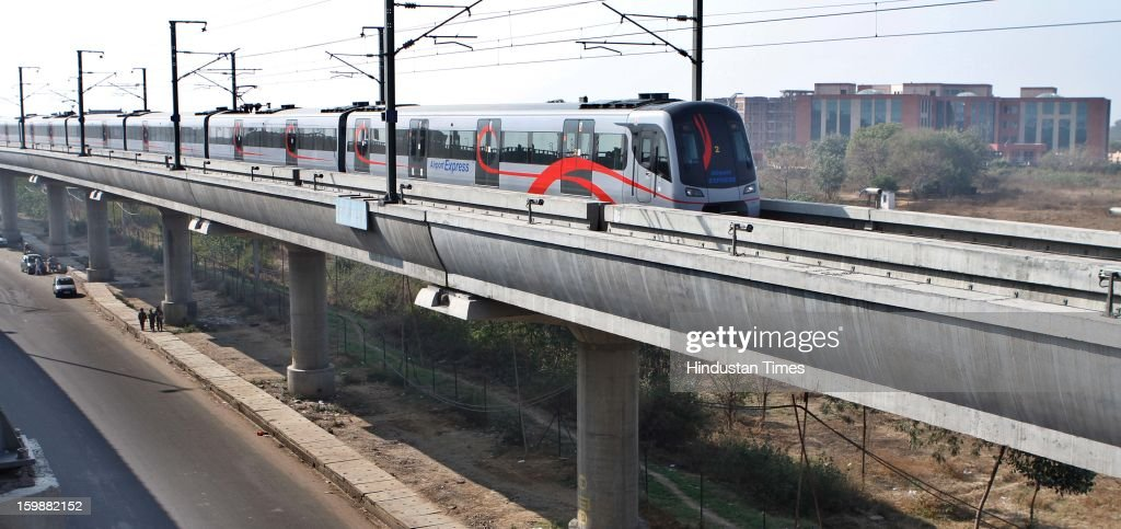 Airport Metro Express take a run after line resumed its operations on January 22, 2013 in New Delhi, India. Commercial operations of the 23-km corridor that connects Connaught Place with Terminal-3 of the Indira Gandhi International Airport resumed operations after gap of six months.