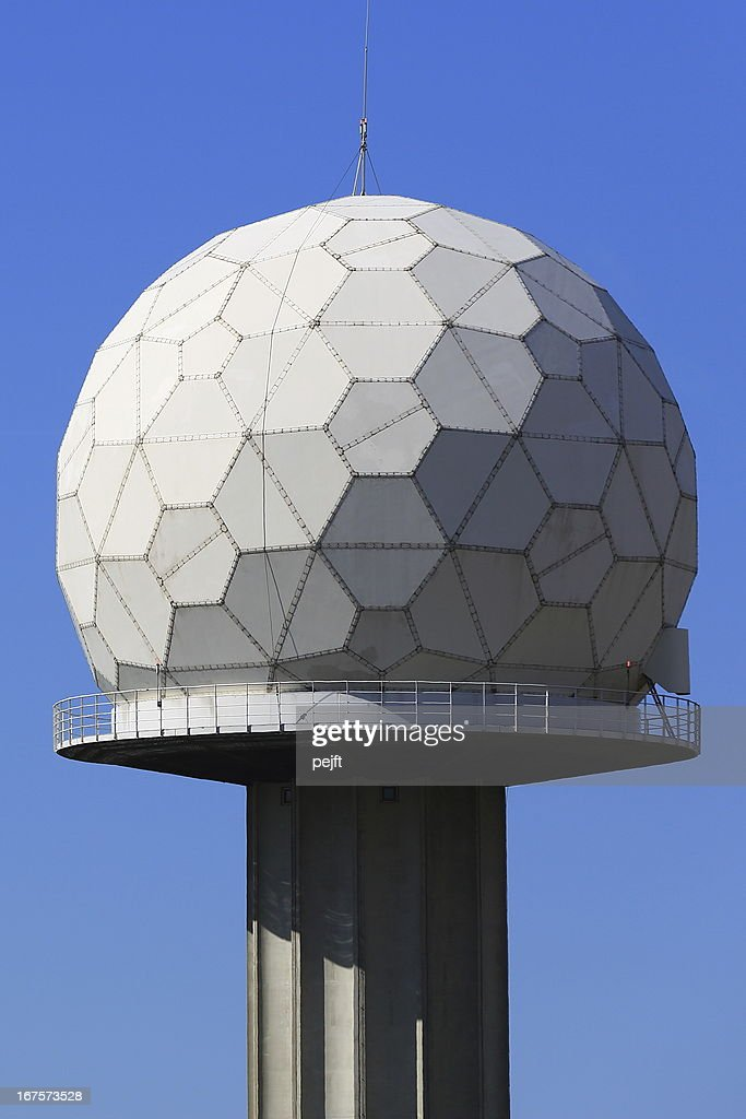 Airport radar tower with sphere : Stock Photo