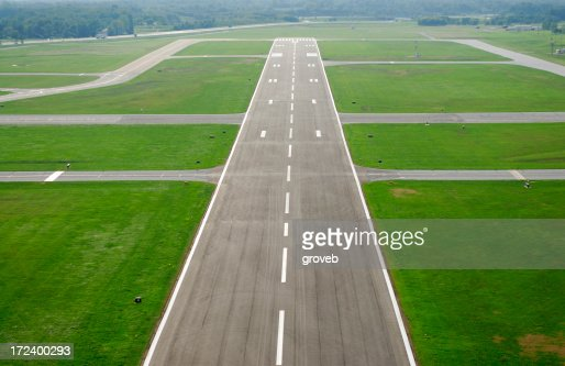 Airport runway on approach.
