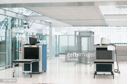 'Airport Security Check Point, Luggage And Body Scanner'