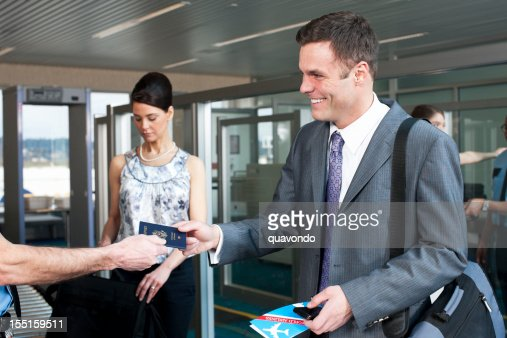 Airport Security, Smiling Businessman with Passport, Business Travel