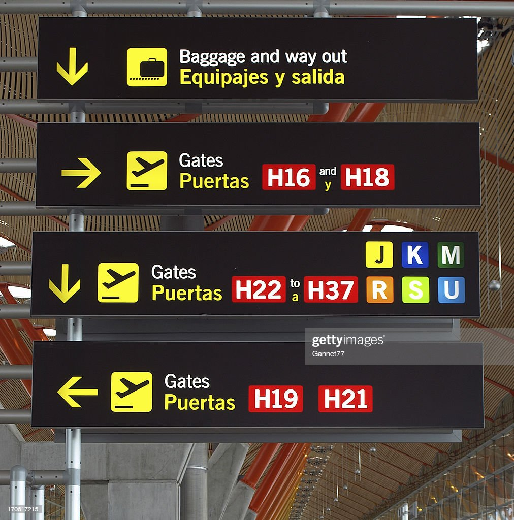 Airport Sign Barajas Madrid Stock Photo | Getty Images