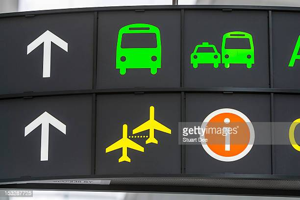 Airport sign with symbols