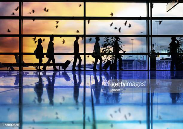 Airport terminal, travellers in silhouette, birds flying