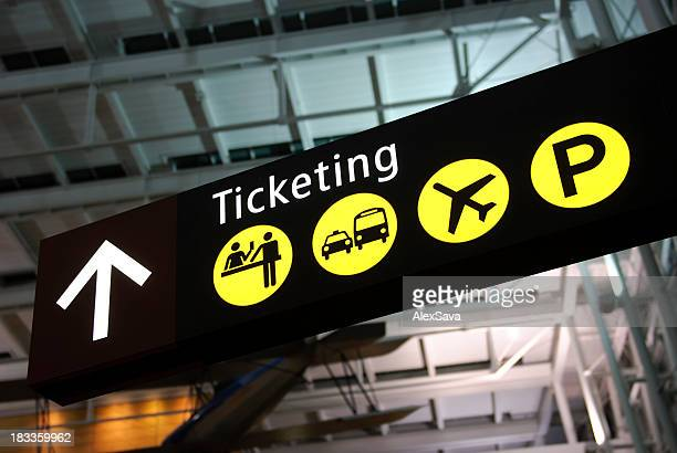 airport ticketing desk sign