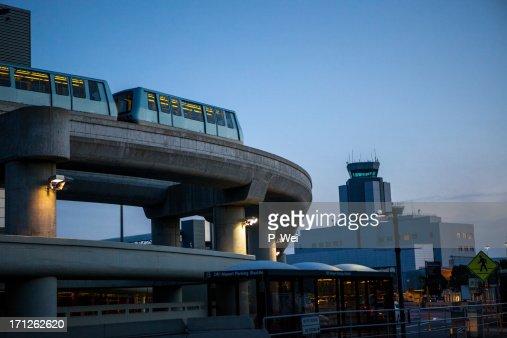 Airport tram at dusk