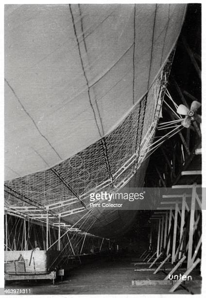 Airship LZ1 'Graf Zeppelin' under construction 1899 LZ1 was the first of the Zeppelins It was built in a floating hangar on Lake Constance and made...