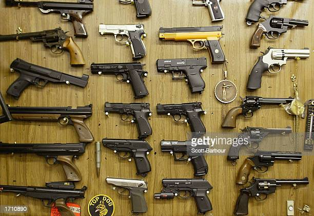Airsoft plastic BB guns are on display in a shop selling the hobbyist replica firearms January 6 2003 in London British Home Secretary David Blunkett...