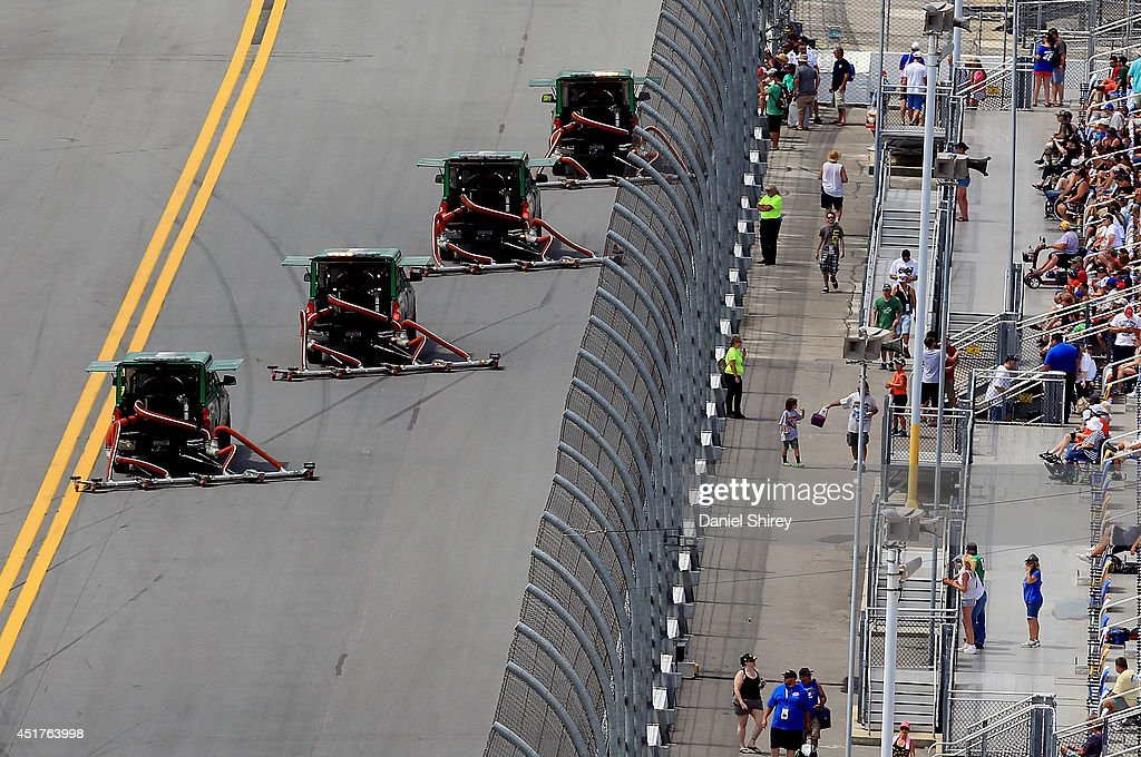 Air-Titan 2.0 track dryers run during the NASCAR Sprint Cup Series Coke Zero 400 at Daytona International Speedway on July 6, 2014 in Daytona Beach, Florida.