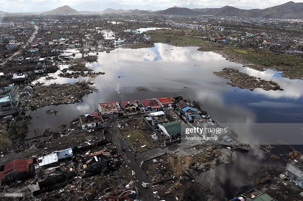 Airvew of Tacloban city of Philippines aftermath the super typhoon Haiyan on November 18 Philippines