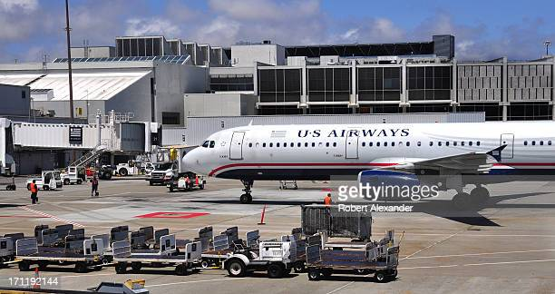 Airways Airbus A321 aircraft approaches its gate at San Francisco International Airport in San Francisco California
