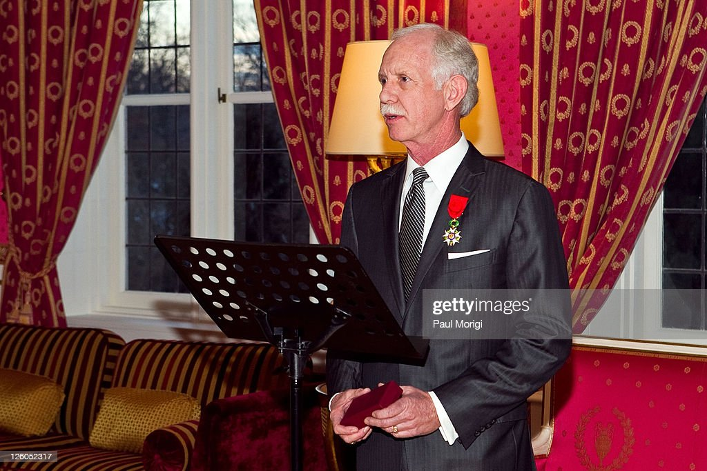 US Airways Capt. Chesley 'Sully' Sullenberger (Ret.) makes a few remarks after being presented with the National Order of the Legion of Honour Officier Award at the French Ambassador's Residence on December 17, 2010 in Washington, DC.