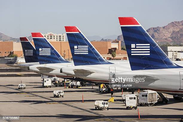 US Airways jets at Phoenix Sky Harbor International Airport US Airways is headquartered in Tempe Arizona and flies to over 198 destinations Phoenix...