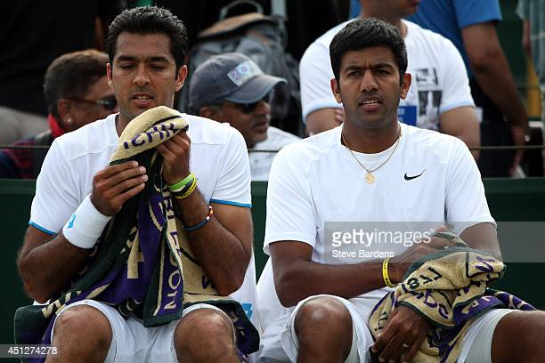 Aisam Qureshi of Pakistan and Rohan Bopanna of India during their Gentlemen's Doubles first round match against Frantisek Cermak of Czech Republic...