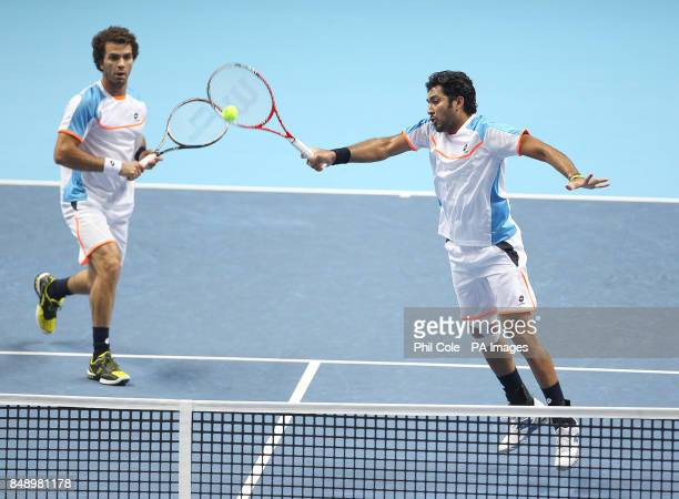 AisamUlHaq Qureshi and JeanJulien against Rojer Marcel Granollers and Marc Lopez during the Barclays ATP World Tour Finals at the O2 Arena London
