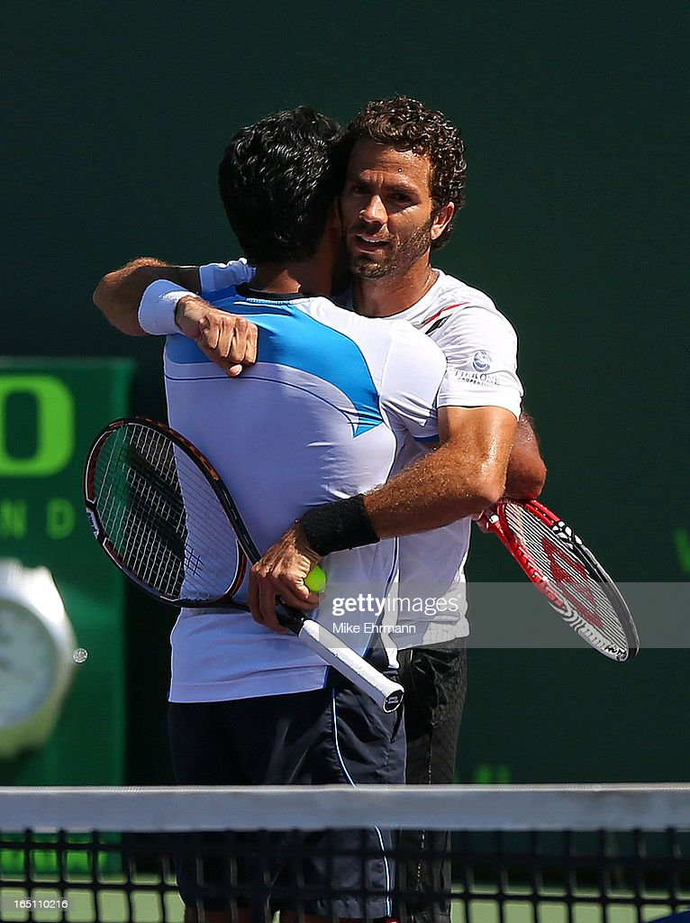 Aisam-Ul-Haq Qureshi of Pakistan and Jean-Julien Rojer of the Netherlands pose celebrate after winning the doubles final against Mariusz Fyrstenberg and Marcin Matkowski of Poland during the Sony Open at Crandon Park Tennis Center on March 30, 2013 in Key Biscayne, Florida.