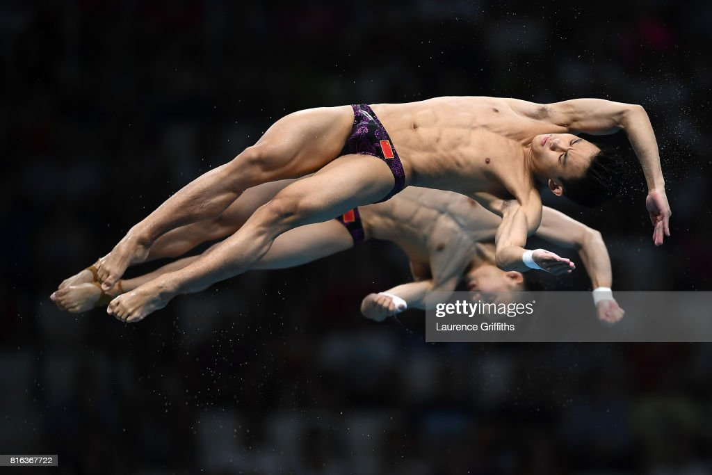 Aisen Chen and Hao Yang of China compete during the Men's Diving 10M Synchro Plaform final on day four of the Budapest 2017 FINA World Championships on July 17, 2017 in Budapest, Hungary.