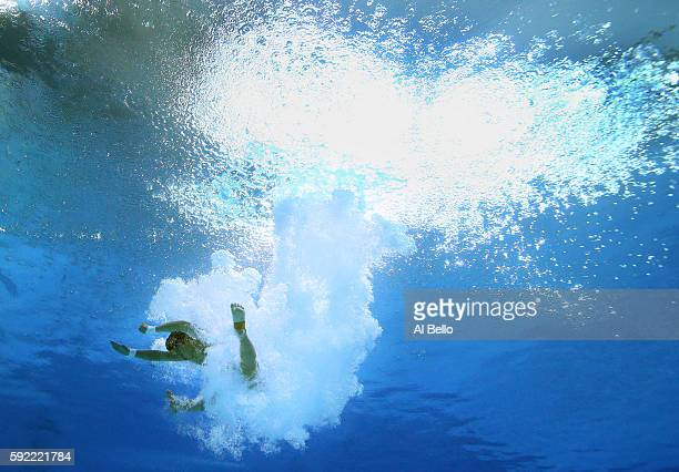 Aisen Chen of China competes during the Diving Men's 10m Platform Preliminary on Day 14 of the Rio 2016 Olympic Games at the Maria Lenk Aquatics...