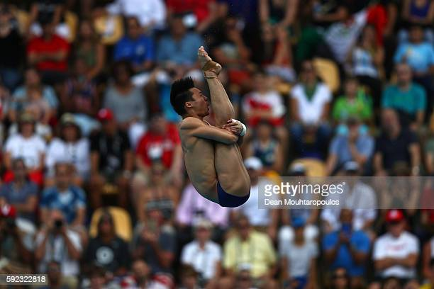 Aisen Chen of China competes during the Men's Diving 10m Platform semifinal on Day 15 of the Rio 2016 Olympic Games at the Maria Lenk Aquatics Centre...