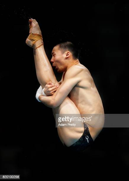 Aisen Chen of China competes during the Men's Diving 10m Platform preliminary round on day eight of the Budapest 2017 FINA World Championships on...